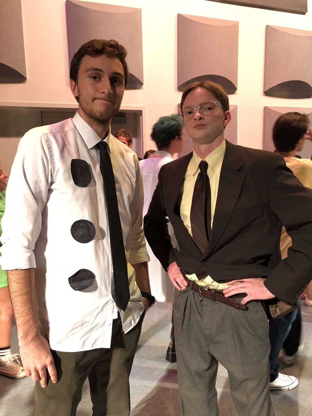 Seniors Samuel Heard and Hudson Tankersley won the Improv Show's costume contest as Dwight Shrute and Three-Hole-Punch Jim from the Office.