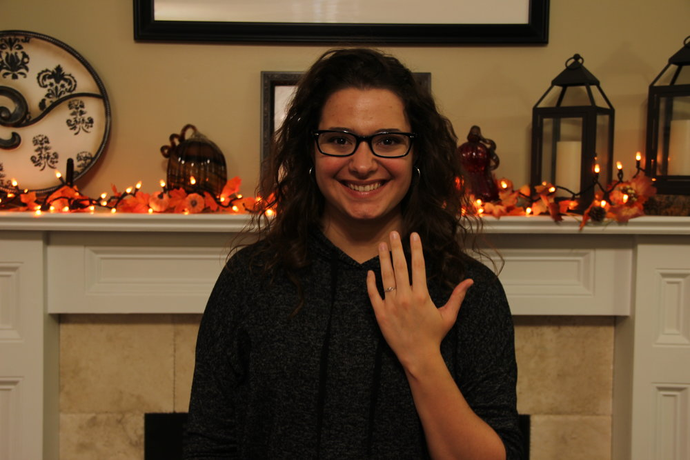 Rachel Daniel (Freshman - Broadcast Media) posing with a ring her dad bought her for a graduation gift.