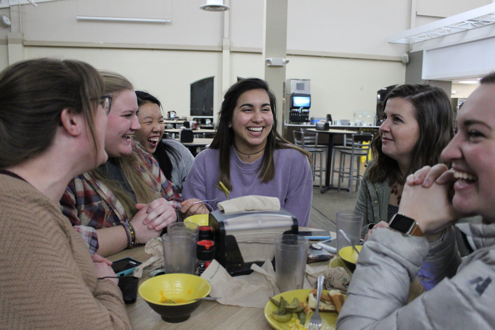 Victoria Spears, Sandi Gainey, Ashley Valencia, Kaitlyn Robinson, Dori Kelly and Bree Joplin laugh over some very corny jokes. (ei. What do you call a fake noodle? An impasta….)