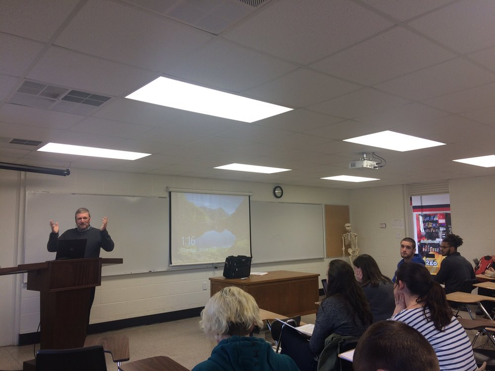 David Riddering opens his class with a lesson on psychology in marketing.  Photo courtesy of Michaela Gleed.