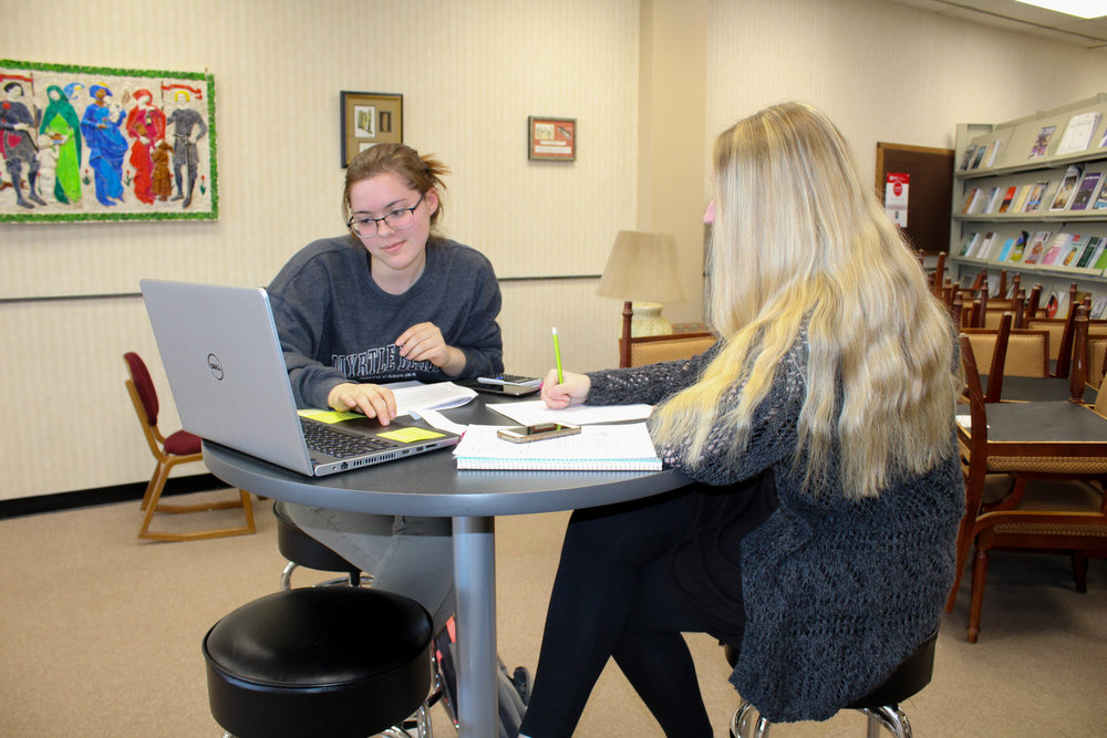 Fellow freshman biology majors Claire Smith and Katelin Hanna work on math work together.