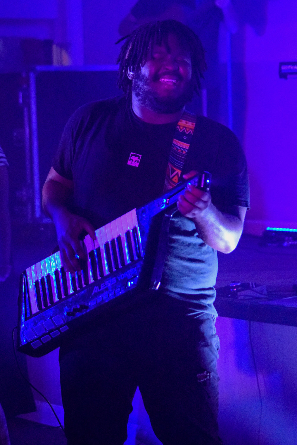 Perdue rocks it out on the keytar during the service.