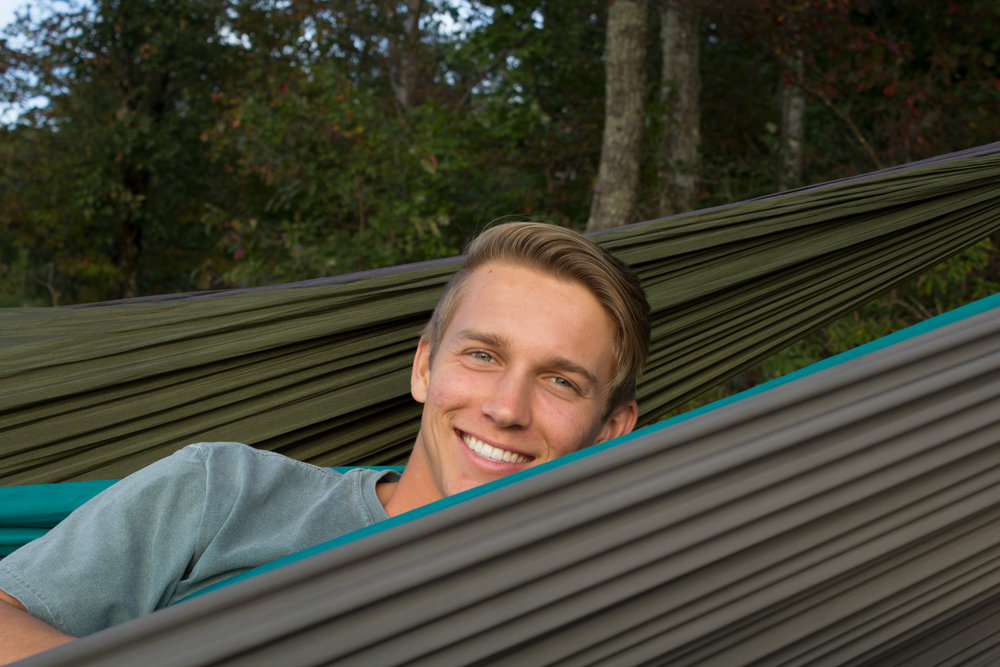 John Cole Floyd takes a break from studying in his ENO hammock.