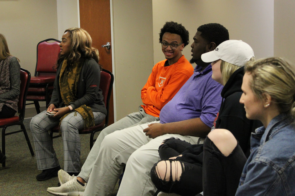 The other side of the room introduces themselves including students Issac Langdon (sophomore), Paul Scotland (freshman), Logan Jolley (freshman), and Savannah Laughter (sophomore).