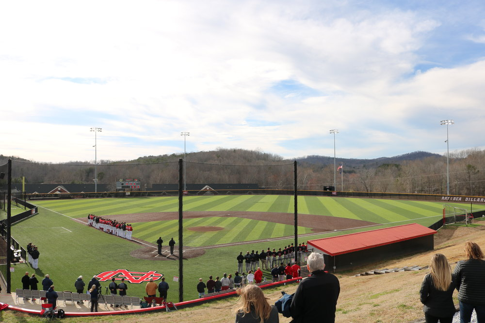 North Greenville Crusaders and the Newberry Wolves line up for the National Anthem on Fri., Feb. 8.