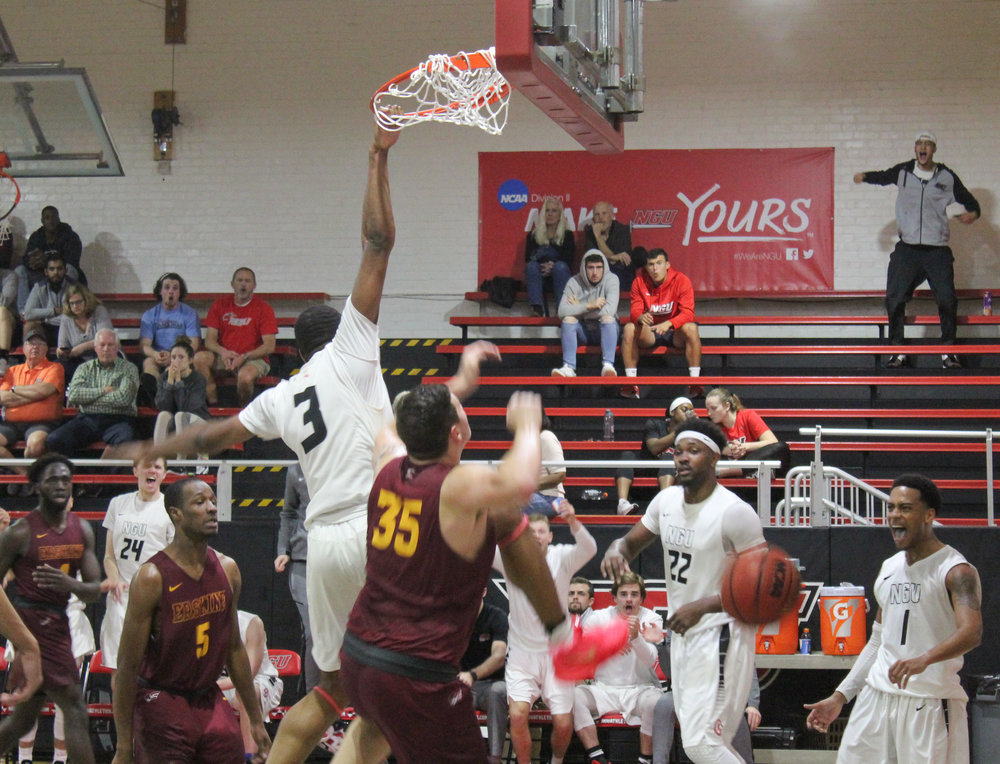 Sophomore, Kovi Tate, 3, dunked causing an uproar from his teammates and the crowd.