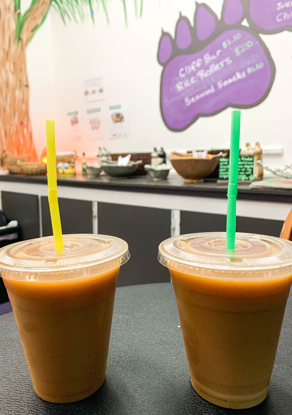 An organic drink was included in the price of admission to the cafe.