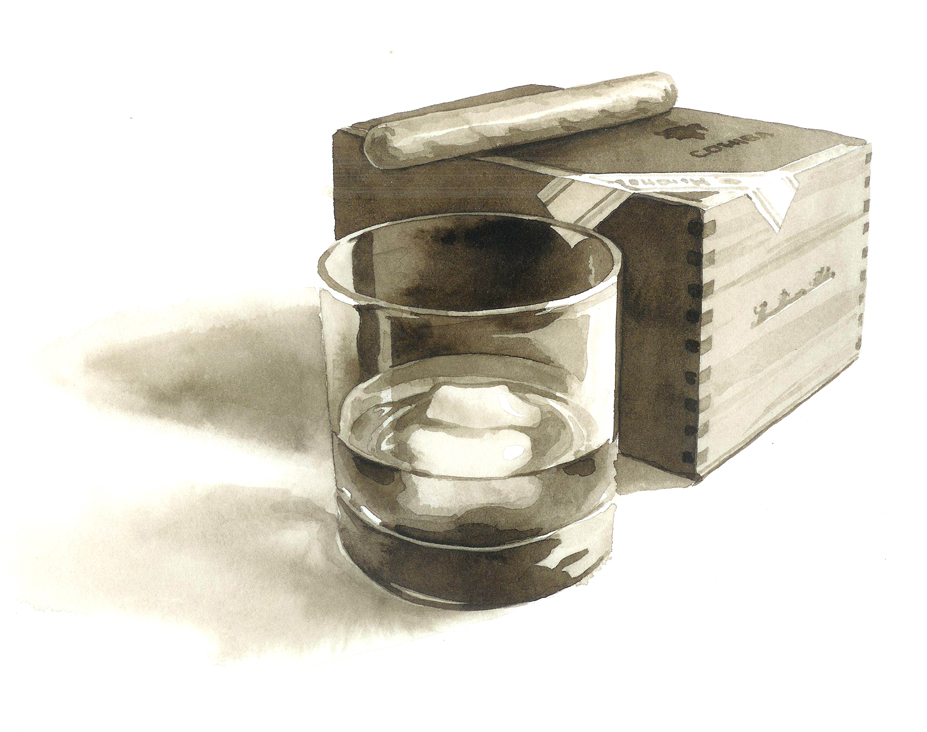 "WHISKY AND CIGAR   Watercolor 4"" x 6"""