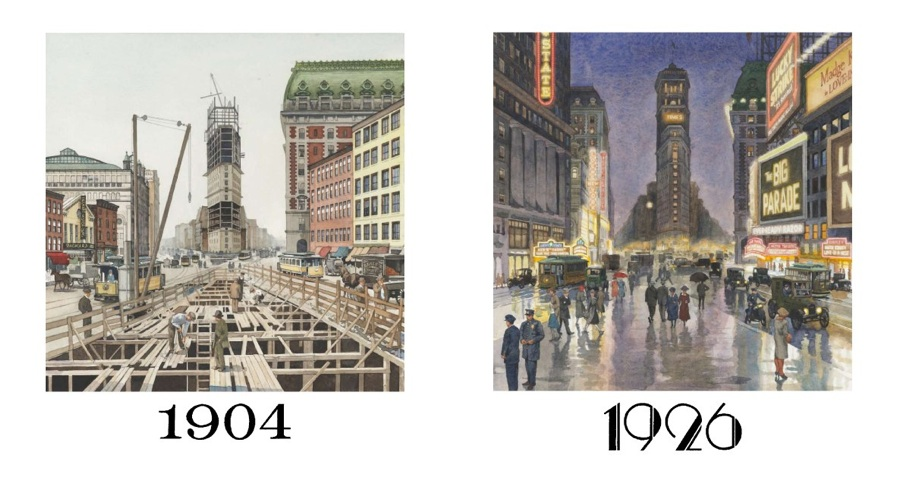 TIMES SQUARE VIEW, 1904 and 1926  One Times Square (David R. Godine), watercolor, 2012
