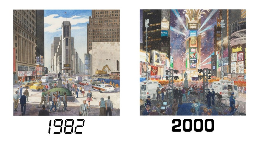 TIMES SQUARE VIEW, 1982 and 2000  One Times Square (David R. Godine), watercolor, 2011