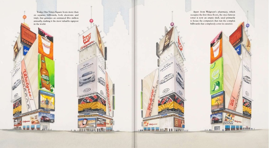 BILLBOARDS ON ONE TIMES SQUARE, pp. 58,59  One Times Square (David R. Godine), watercolor 2011