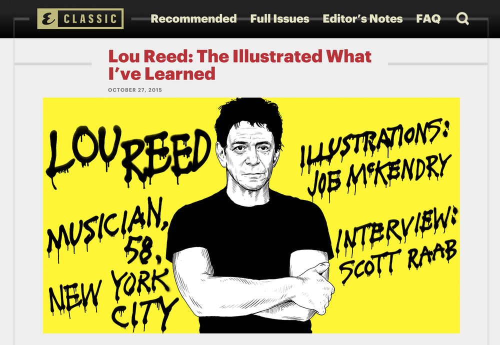 LOU REED  Esquire Classics,  November 2015