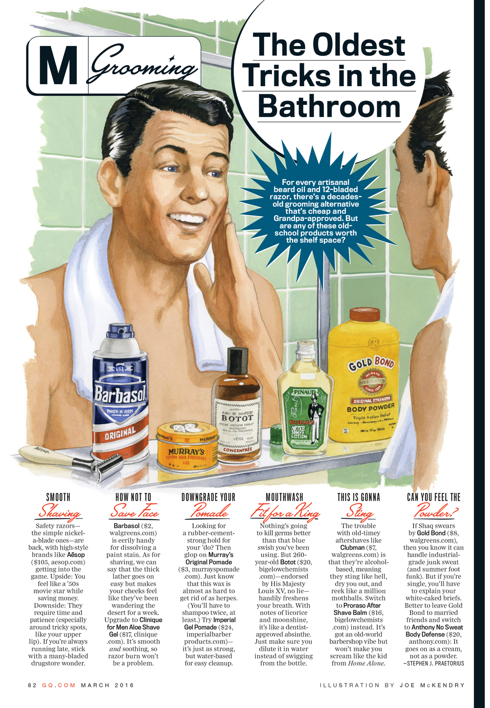OLD SCHOOL GROOMING   GQ Magazine, March 2016