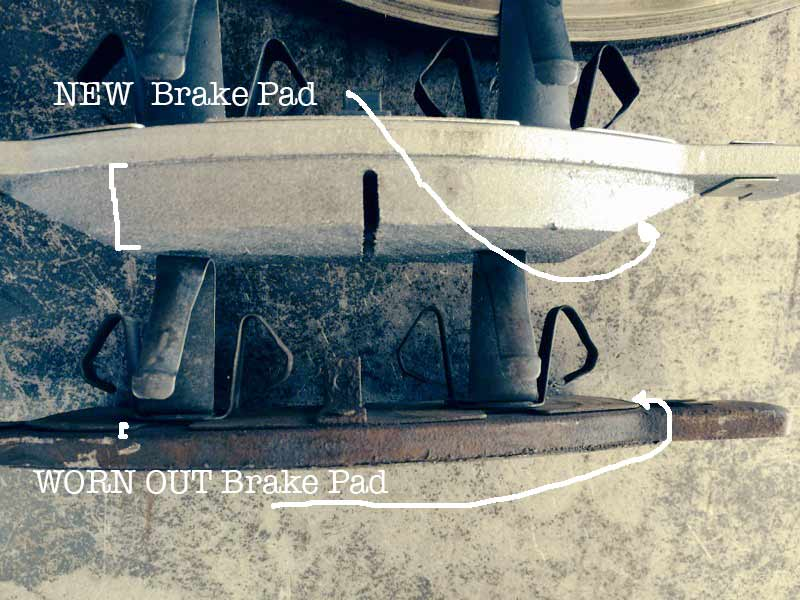 New Brake Pad is thick with plenty of braking material.  Worn Out Brake Pad is paper thin and nearly to the metal.  What do your brakes look like?