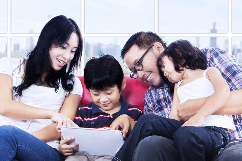 happy family in apartment