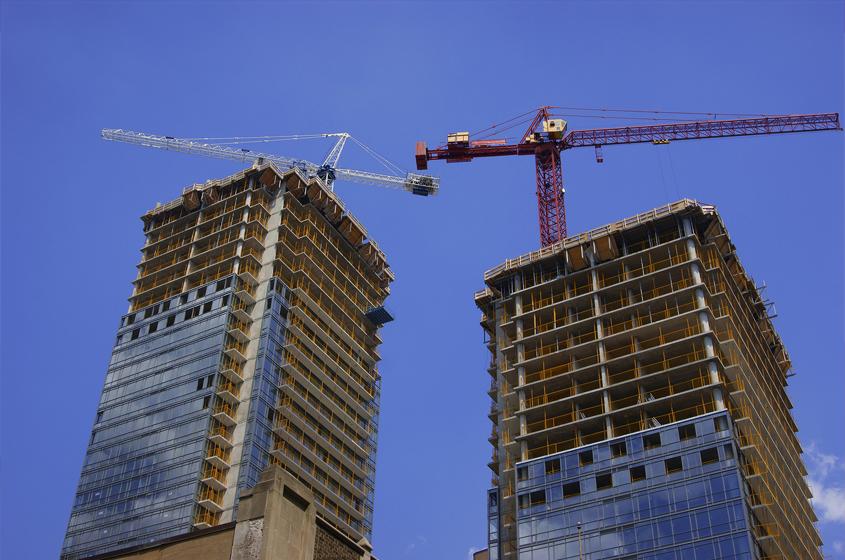 apartment buildings under construction