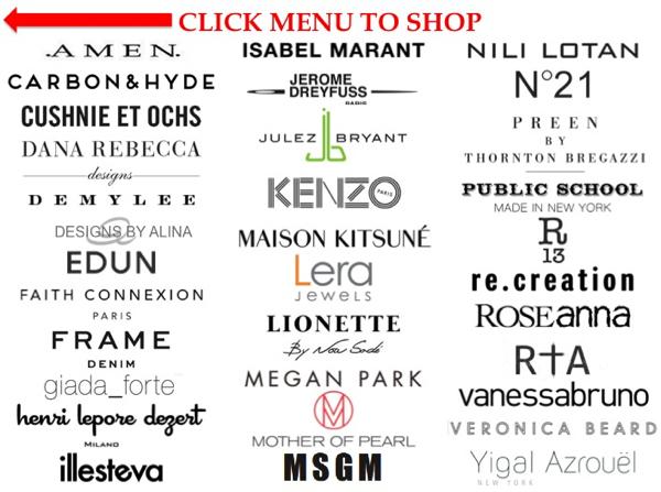 designs by alina, kenzo, vanessa bruno, isabel marant, jerome dreyfuss, giada_forte, nili lotan, lionette, megan park, elizabeth charles, frame denim