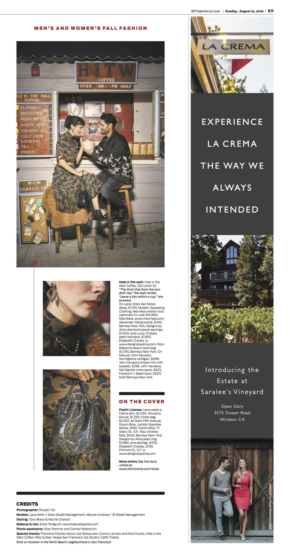 San Francisco Chronicle, Designs by Alina