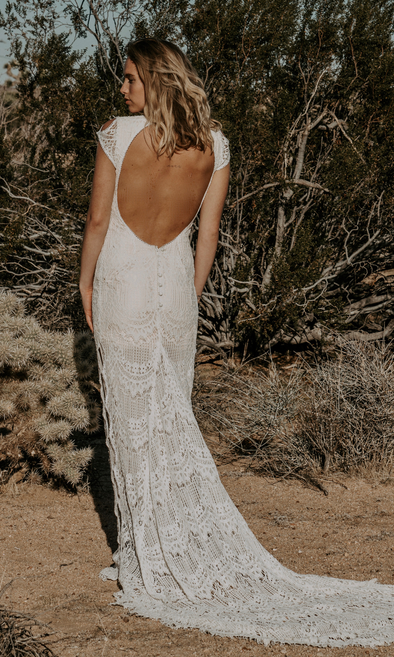 Daughters of Simone - Based out of, and made in Fresno California, the DOS collection is vintage-inspired, romantic, and truly one-of-a-kind. Featuring beautiful fabrics and crochet lace, these dresses are made for the non-traditional bride who has a bohemian spirit. Collection begins at $1,557.