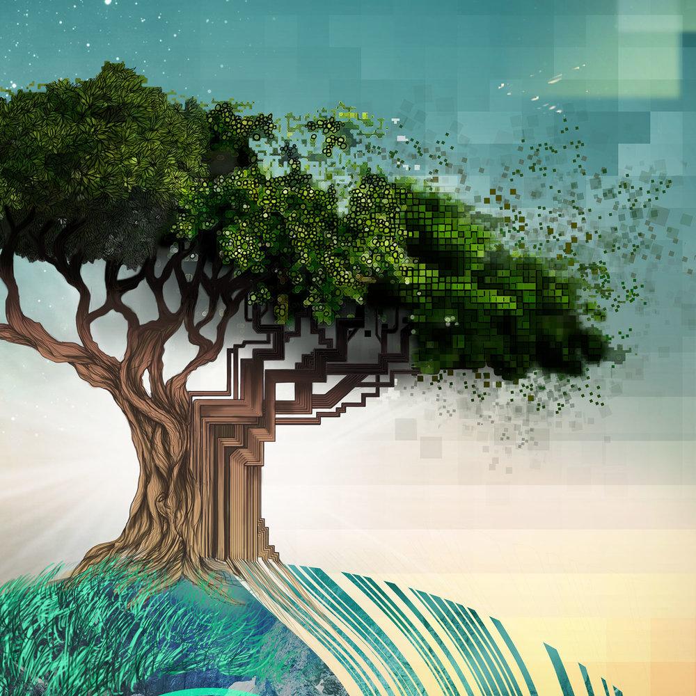 Maha quest album art design tree detail