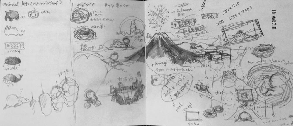 Brainstorming.原案スケッチの一部。