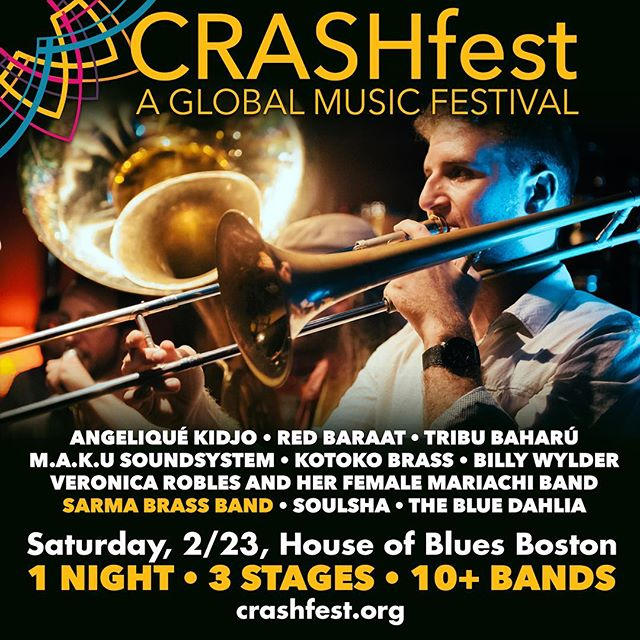 Getting ready to play CRASHfest on February 23 at @hobboston! We can't wait! @wm_crashers. There's an awesome lineup of bands playing: @angeliquekidjo @redbaraat  @tribubaharu @makusoundsystem @kotokobrass @billywylder @veronicaroblesmariachi @soulshamusic @thebluedahliamusic #worldmusic #crashfest #balkanbrassband #worldmusicfestival #houseofblues #sarmabrassband Shout out to birthday boy @michaeljubaprentky 🎉😝🎺