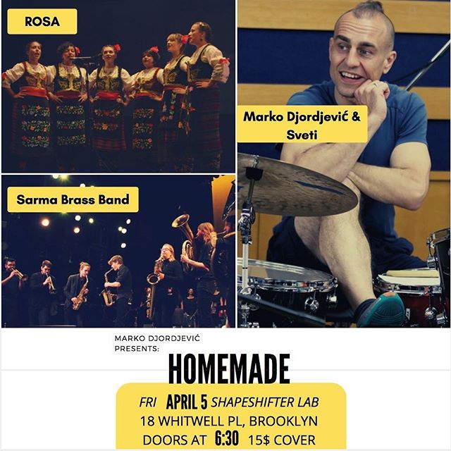 So excited to play at @shapeshifterlab in Brooklyn next Friday April 5 with Marko Djordjevic and ROSA vocal group. If you're in NYC next weekend come through! @ayasafiya @andrija.music @tanobrock @trumpethauer @johncushingofficial @thedapperbrass @bulutgulen @alber.baseel #balkanmusic #balkanbrass #nyc