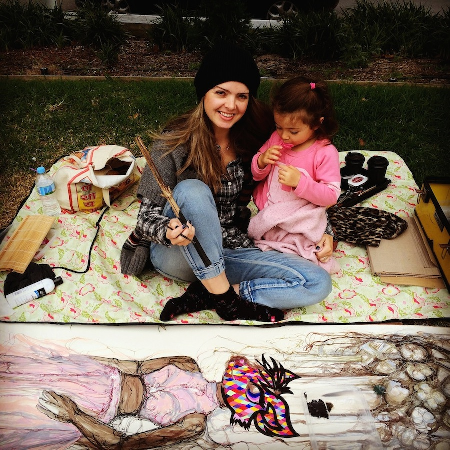 Tanleea painting in the park