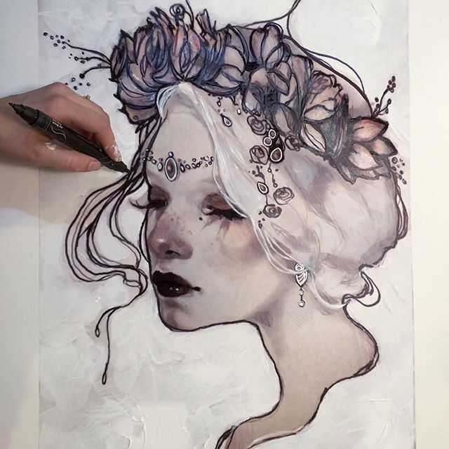 """Embellishing last minute large 19 x 28"""" prints before Christmas 🎄 ⭐️💕. My piece """"Victoria"""" and """" Swans """" being Gessoed with added metallic silver ink and acrylic, with glassed eyes, lips and floral head crown✨."""