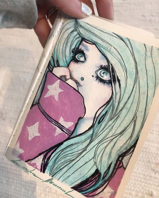 """#oilPastel #mixedmedia #sketchy number Two🤘 """" Wish Upon a Star """" , is Complete ⭐️____✍️ #Mini #Sketchbook #Project #2019 ..(SpeedVid coming soon💨)"""