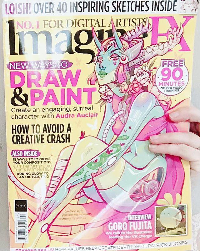 """⭐️STOKED✨ to have just received my ✨March✨issue of @imaginefxmagazine 💕✨⚡️!   One of my long time favorite #magazines with some of my favorite masters of the #digital and #traditional #artist world within this issue!!   I can't believe I'm featured with a two page spread in the """"Traditional Artist, FX Pose, Inspiration Art"""" section 🙌! Featuring my #physical art pieces """" Beneath Crystal Waters"""" top left, """"Daydreamer"""" bottom left , """"Color Me Pink"""" bottom right and """" Daughters of Time and Season"""" right Page. This will mark number five for my  magazine count and among those, being featured in two 🤟 among my favorites on my birthday 🎂✨💕  ⚡️⭐️ CHECK IT OUT🙌🙌!!"""