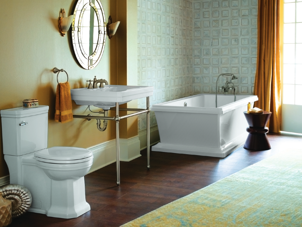 DXV FITZGERALD TWO-PIECE TOILET, CONSOLE LAVATORY, FREESTANDING TUB, RANDALL WIDESPREAD LAV & FLOOR-MOUNT TUB FILLER