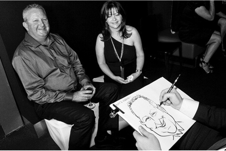 jason chatfield drawing live caricatures new york