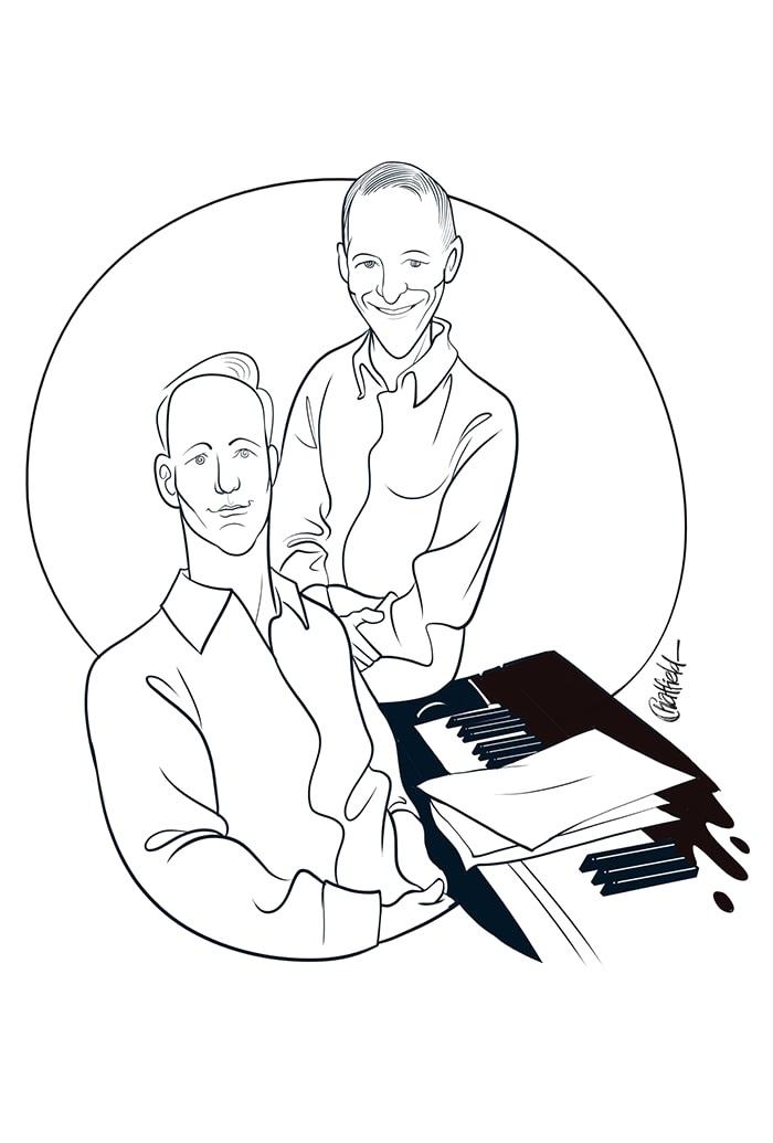 Al Hirschfeld style caricature illustration for Vegas musicians