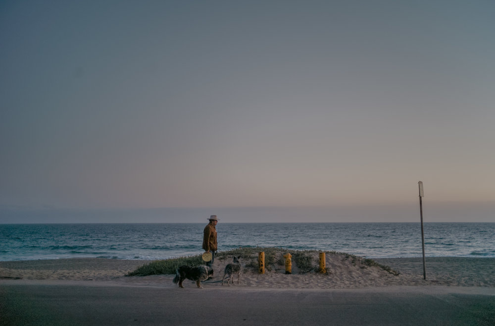 "A Malibu resident and frequent beachgoer walks and plays with his dogs in early June. ""When I walk the beach with or without my dogs, I feel at one with the coast and connected to the land, the water, the wind. It's just all so ominous yet so beautiful,"" he said. The man preferred to remain anonymous."