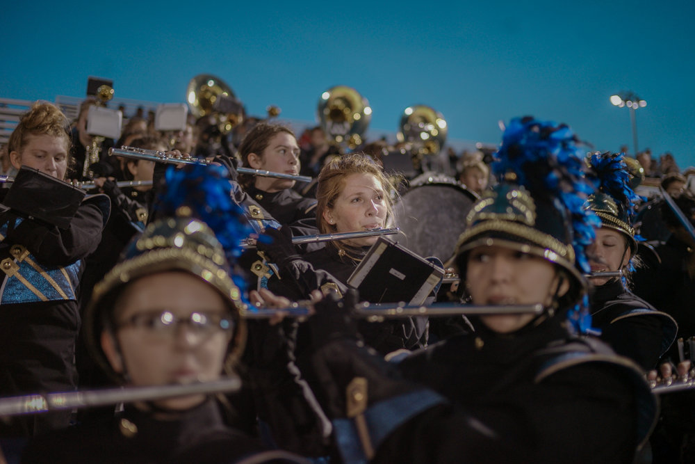 Muriel Battle High School band member Mackenzie Harrington performs at a game against Smith Cotton High School on Friday, August 31, 2018 at Battle. Harrington, a sophomore, says she has been playing the flute for over five years.