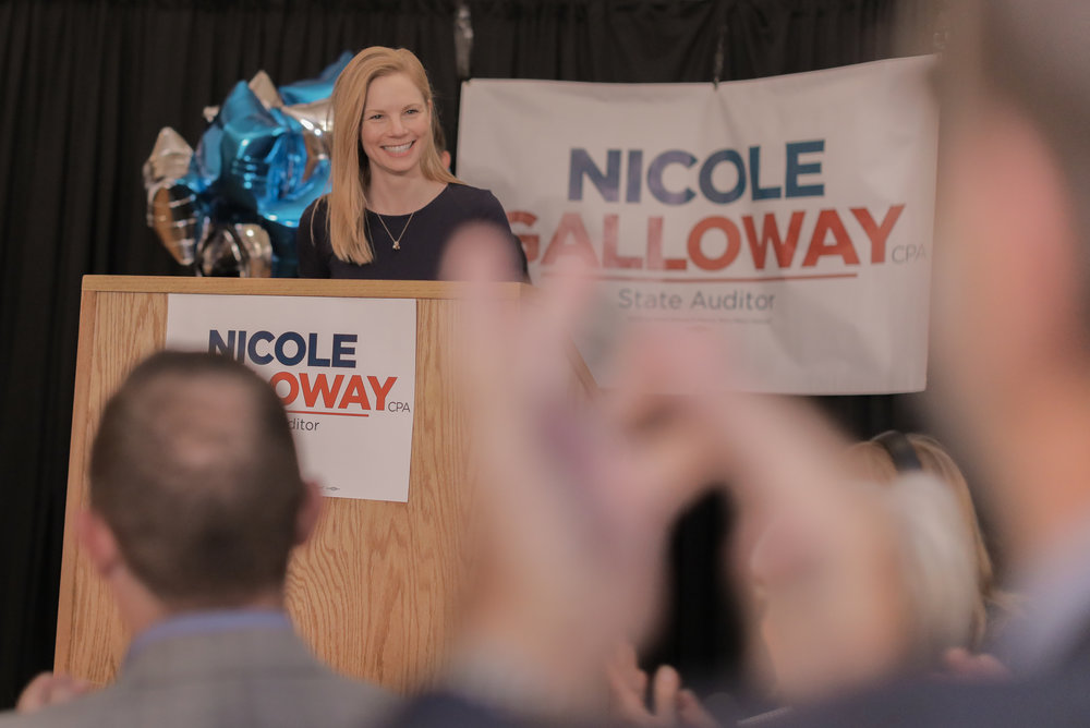 Nicole Galloway speaks to supporters after being reelected as Missouri state auditor on Tuesday at Tiger Hotel in Columbia. Galloway defeated Republican candidate Saundra McDowll, Libertarian candidate Sean O'Toole, Green Party candidate Don Fitz and Constitution Party candidate Jacob Luetkemeyer.