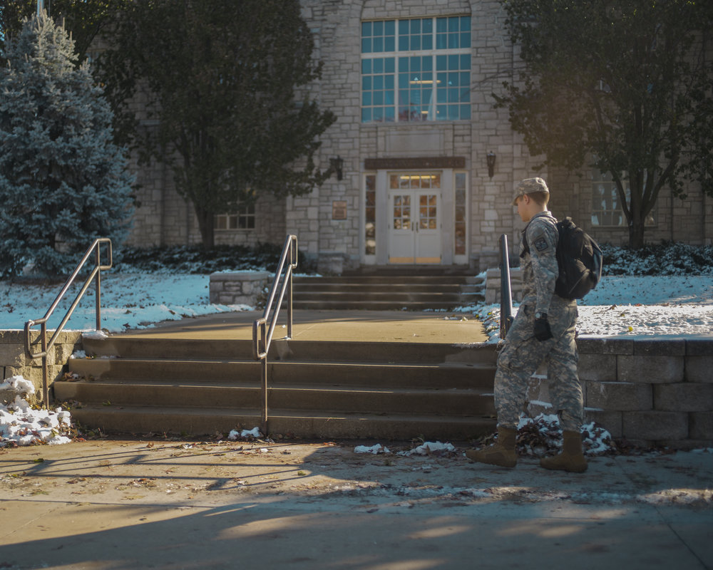 Crowder Hall, where Azuaura-Heredia is on Nov. 27, is home to all three branches of ROTC at MU. ROTC recently celebrated 150 years at MU.