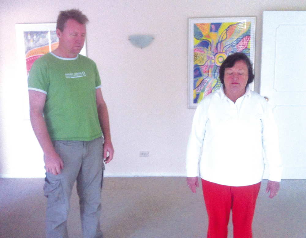 Organizer Rob and Healing Centre owner Helen, relaxed and enjoying Standing Meditation after the workshop