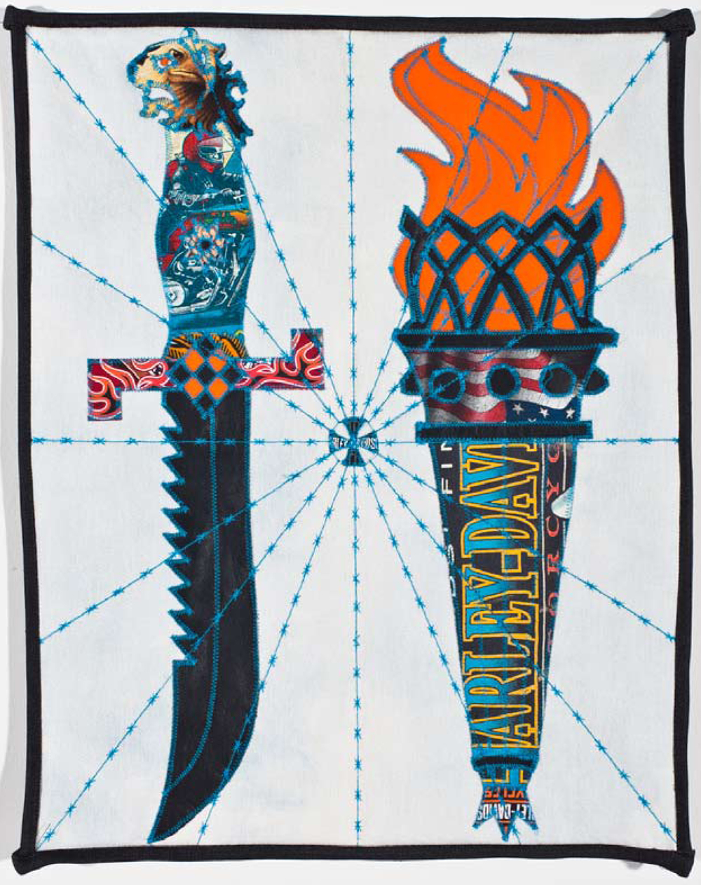 "Ben Venom,  I Carry the Flame , 2013,Harley Davidson t-shirts, leather, and denim, hand-made quilt, 15"" x 19."" Collection of Matt Gonzalez."