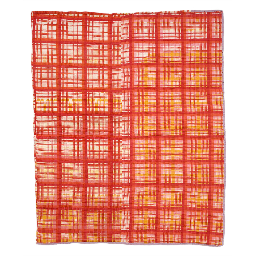 Flannel as grid on the back of String Diamond, c. 1950 - 1970