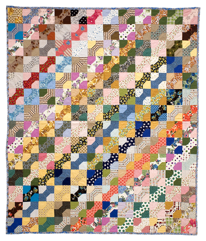 Bow Tie   c. 1940- 1960 Pieced. Cotton. Hand quilted. Single printed cotton backing brought to front 89 x 75 inches Origin and Maker unknown