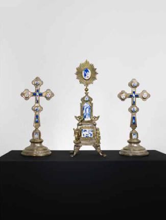 Moss Cross   Eisenblech, Messing, Keramik  Umsetzung Saskia Ganther  2011