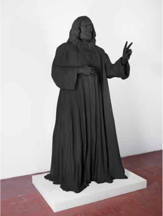 Jesus, Ray und Bruno W.  Holz, Gips, PU-Schaum,Pigmentfarbe  204x101x77cm   2011