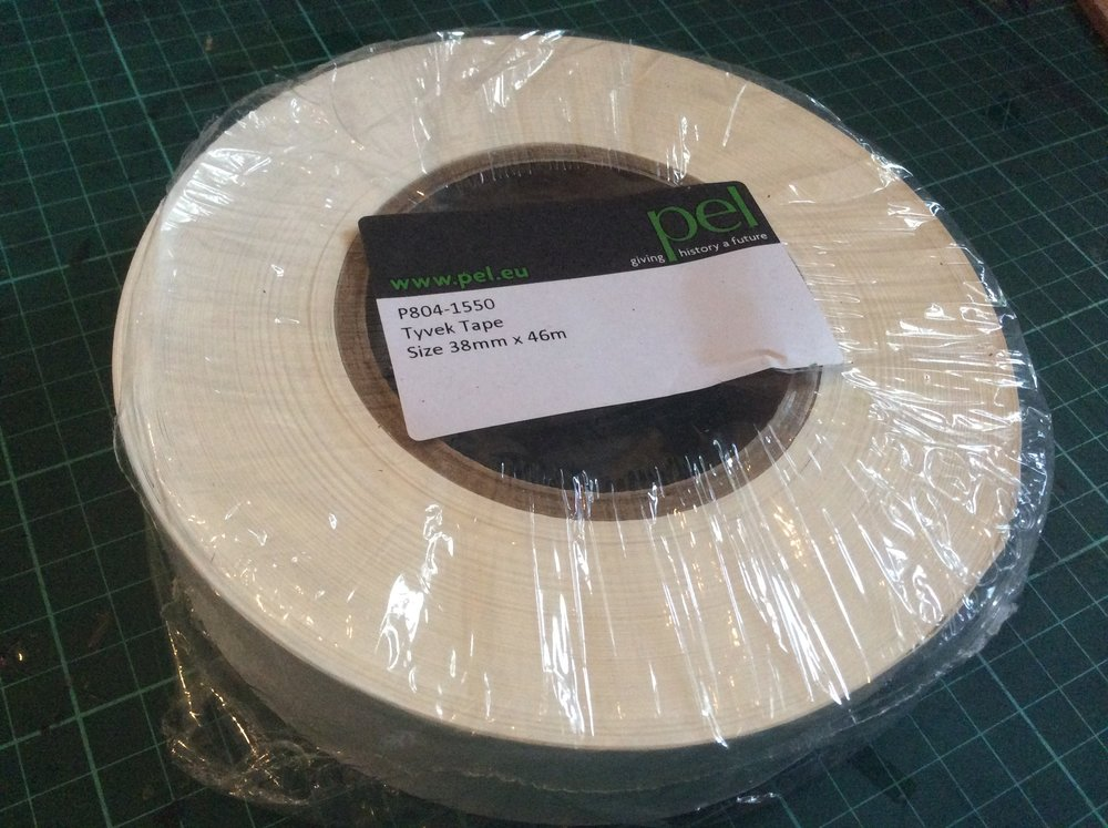 Tyvek Tape - Pressure Sensitive - Tyvek Tape - 38mm   I went for 38mm as it was wide enough to cover the wood of the stretcher bars. There are a few other widths are available.