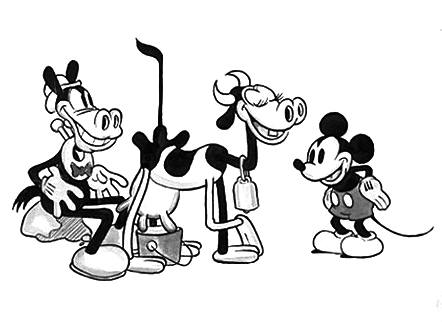 Let us not think too closely about what Disney's Horace Horsecollar, Clarabelle Cow and Mickey Mouse might be doing or about to do in this early drawing and concentrate instead on their anatomy. Clarabelle herself does appear to have the correct number of hooves, though Horace the horse (Clara's fiancé) has many more digits than necessary.