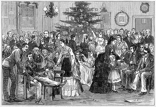 The Middlesex Hospital: a party in a ward, with a Christmas tree and other decorations. Note absence of baked beans and the inversely proportional degree of good cheer. Except for the man with the gammy leg. Wood engraving, 1874. V0013608 Credit: Wellcome Library, London, ICV No 13895.