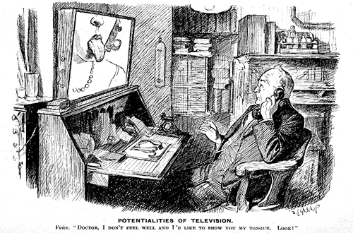 Alas this promising potentiality was abandoned after several serious misdiagnoses and many other transgressions, not all of which were entirely due to viewing patients at the incorrect aspect ratio. Reproduction of a drawing after D.L. Ghilchip, 1932. Plate to:  Punch , 21 September 1932, p. 321. Wellcome Library, No. 15504i.