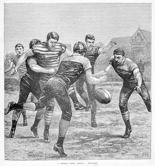 BALLLLLL  (Wood engraving by George Rossi Ashton, published 18 June 1881 in  The Australasian Sketcher . State Library of Victoria, A/S18/06/81/193).