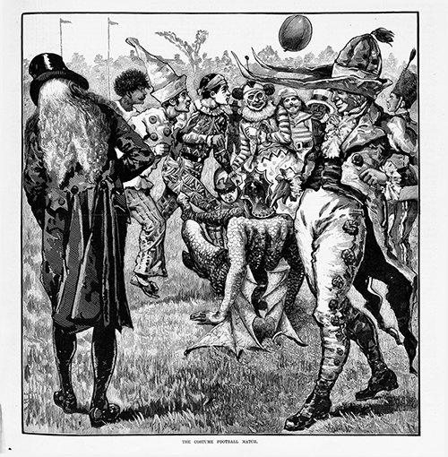 BALLLLLL wait wtf (wood engraving, published 10 September 1881 in  The Australasian Sketcher . Members of the theatrical profession in Melbourne taking part in a charity match on behalf of the family of the late Marcus Clarke; held on the East Melbourne Cricket Club ground; opera house employees against the remaining theatres; all the players are in theatrical costumes. State Library of Victoria, A/S10/09/81/289).